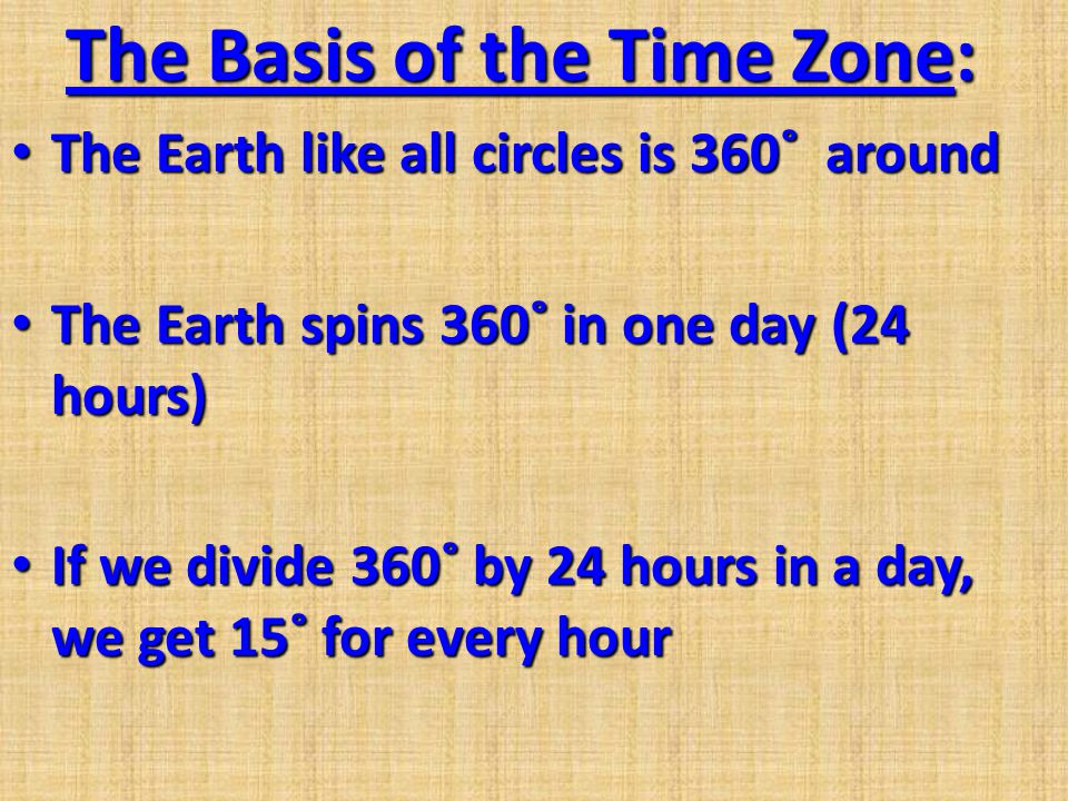 The Basis of the Time Zone: