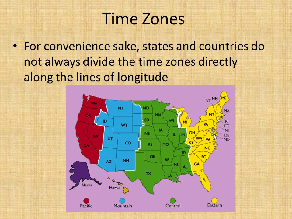 Time Zones For convenience sake, states and countries do not always divide the time zones directly along the lines of longitude.