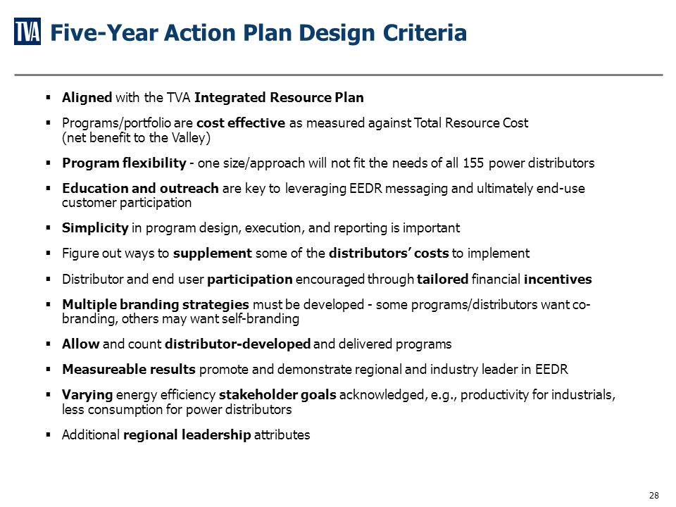Primary Elements of the Five-Year Action Plan