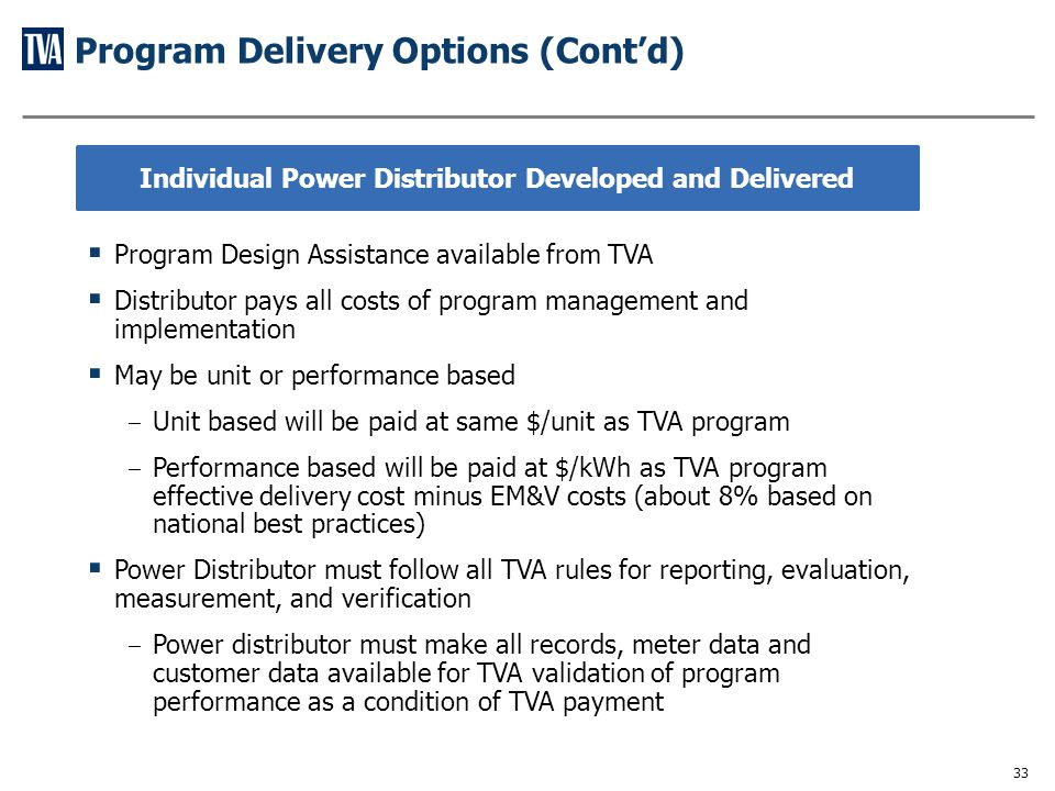 Program Delivery Options (Cont'd)