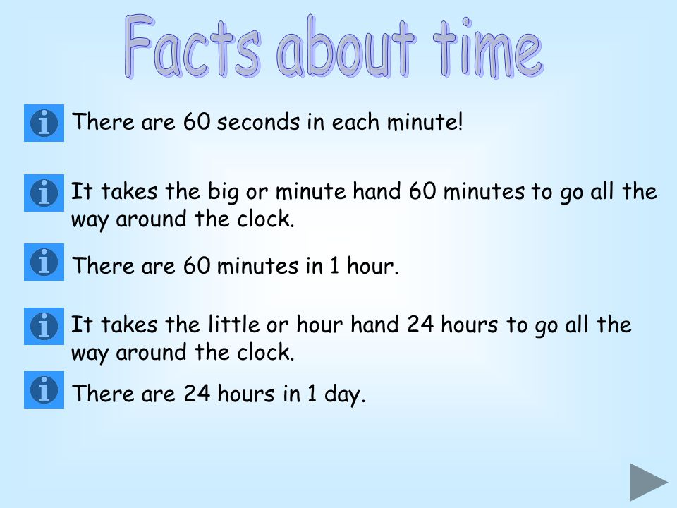 Facts about time There are 60 seconds in each minute!