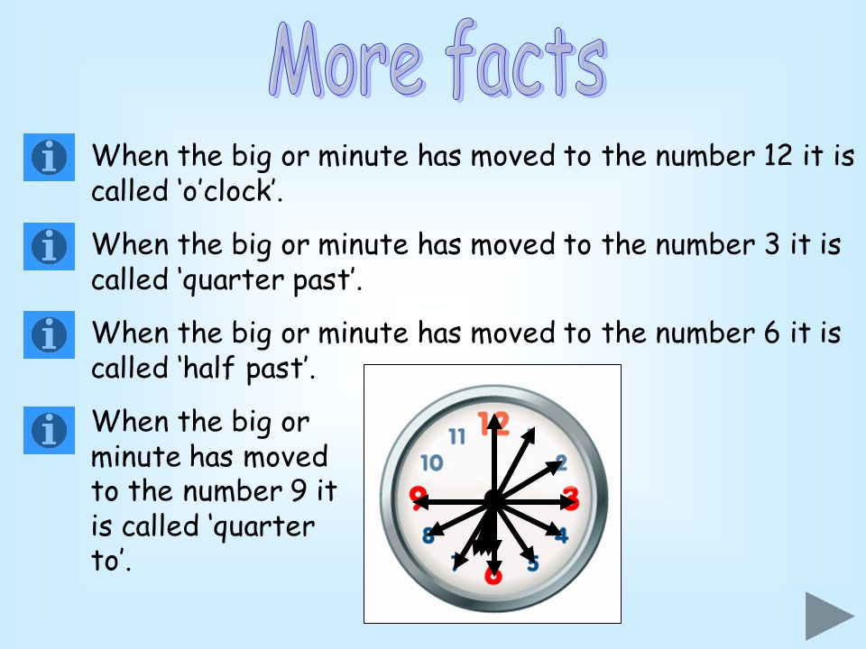 More facts When the big or minute has moved to the number 12 it is called 'o'clock'.