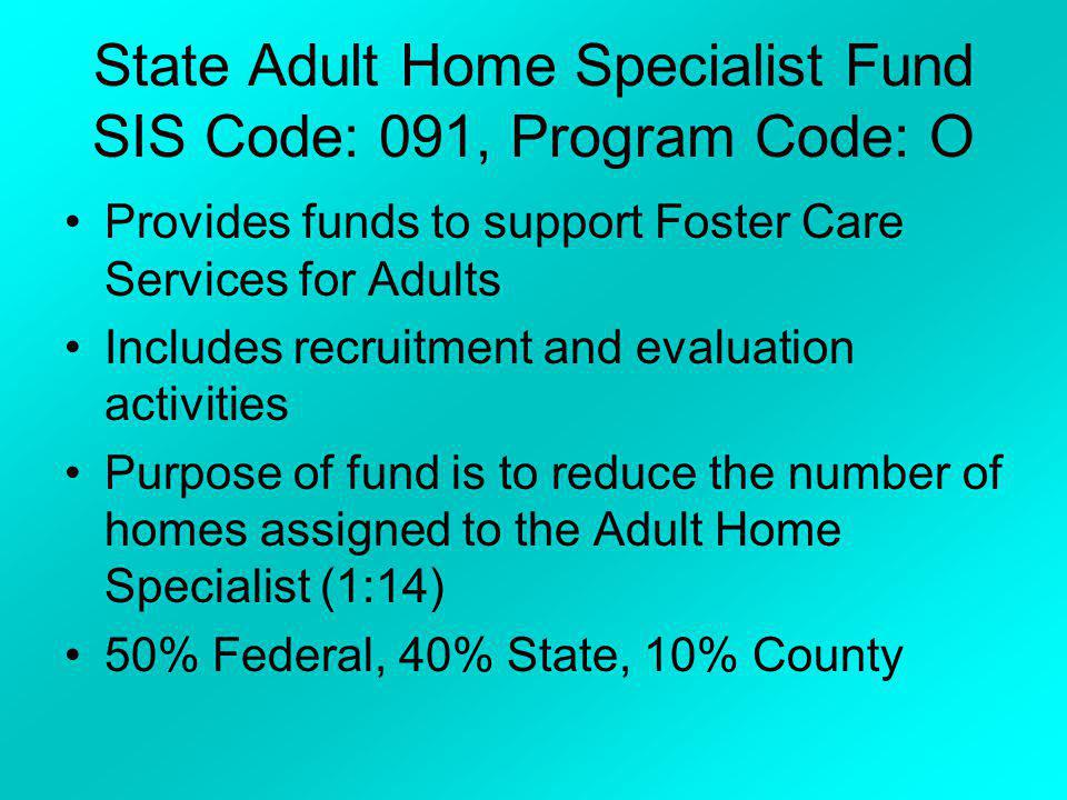 State Adult Home Specialist Fund SIS Code: 091, Program Code: O