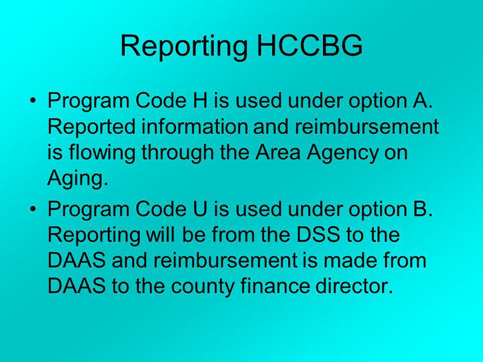 Reporting HCCBG Program Code H is used under option A. Reported information and reimbursement is flowing through the Area Agency on Aging.