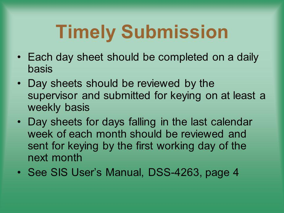 Timely Submission Each day sheet should be completed on a daily basis