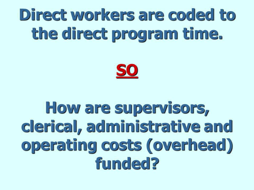 Direct workers are coded to the direct program time