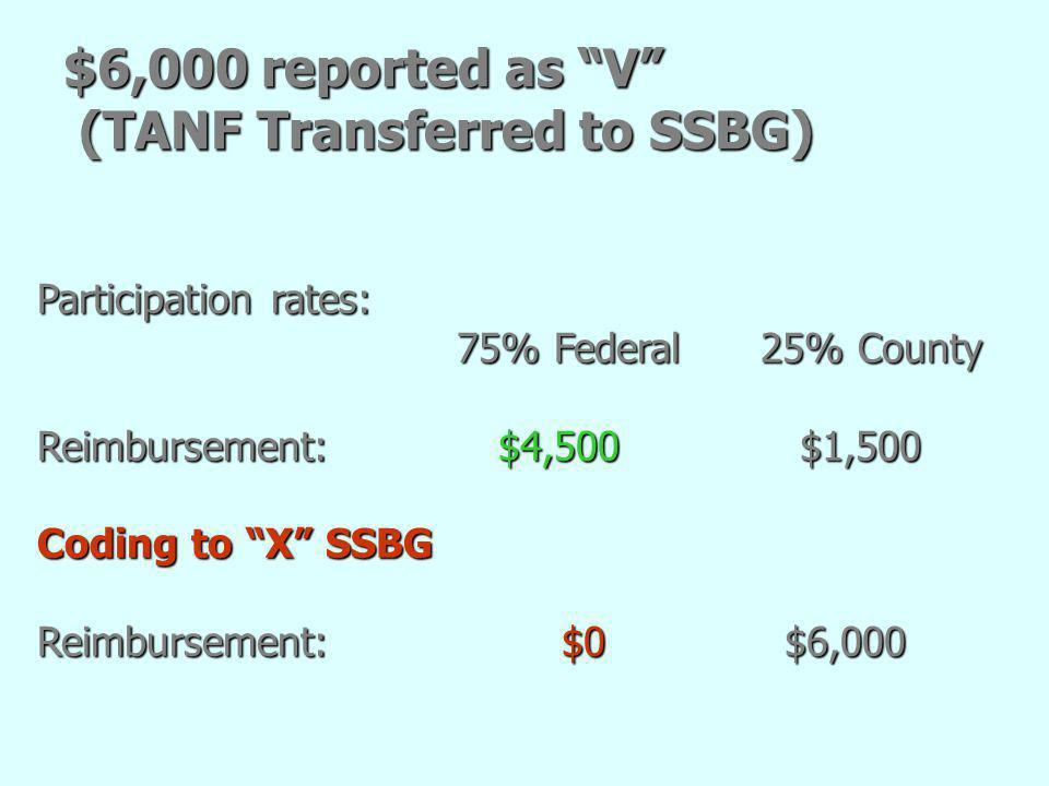 $6,000 reported as V (TANF Transferred to SSBG)