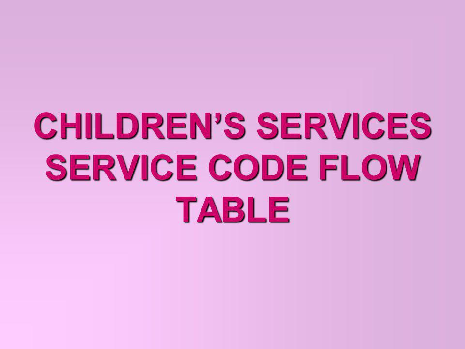 CHILDREN'S SERVICES SERVICE CODE FLOW TABLE