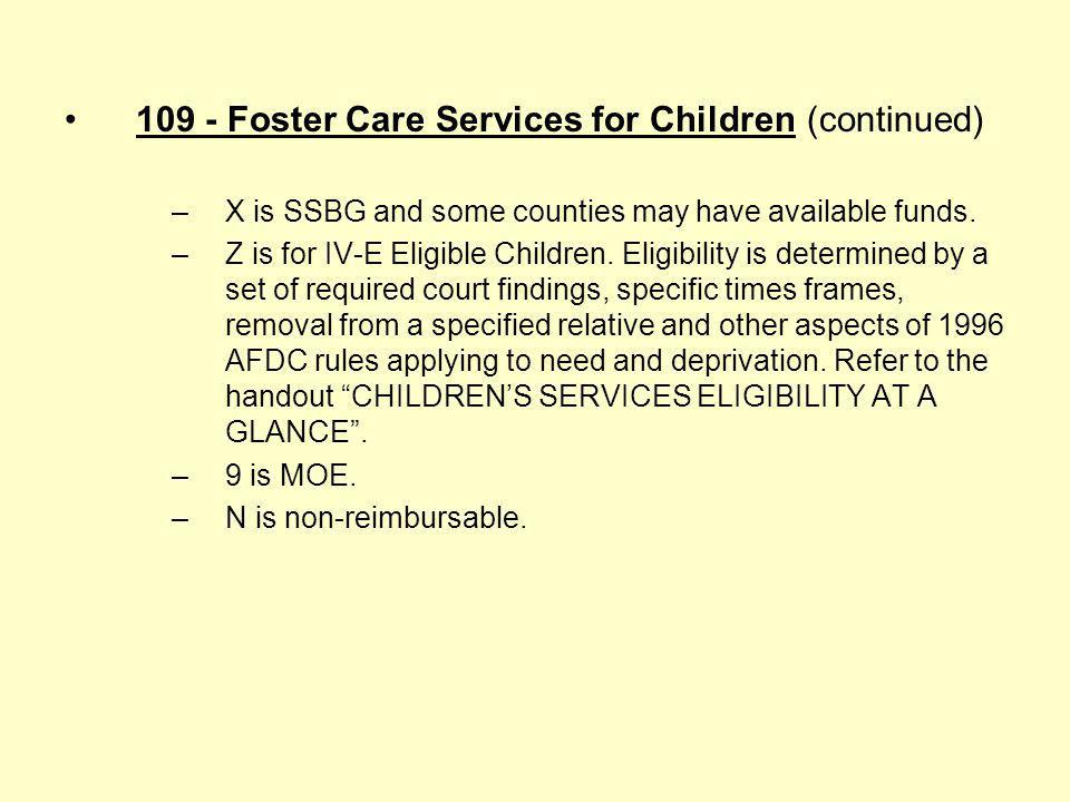 109 - Foster Care Services for Children (continued)