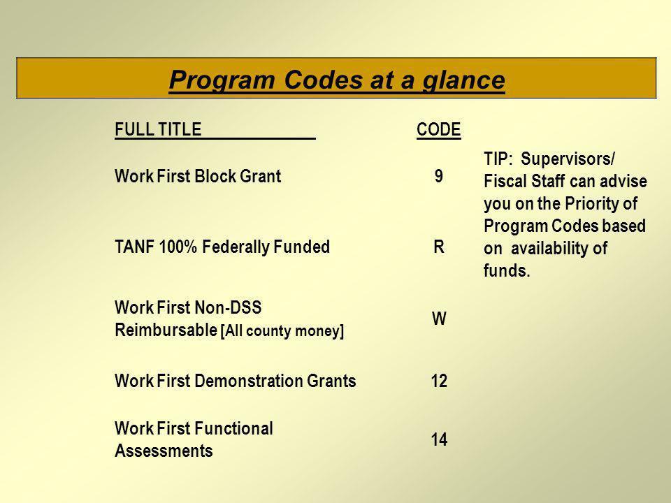 Program Codes at a glance