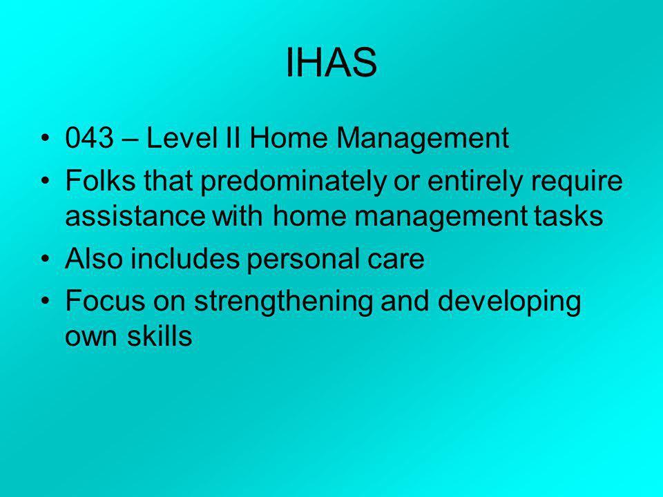 IHAS 043 – Level II Home Management