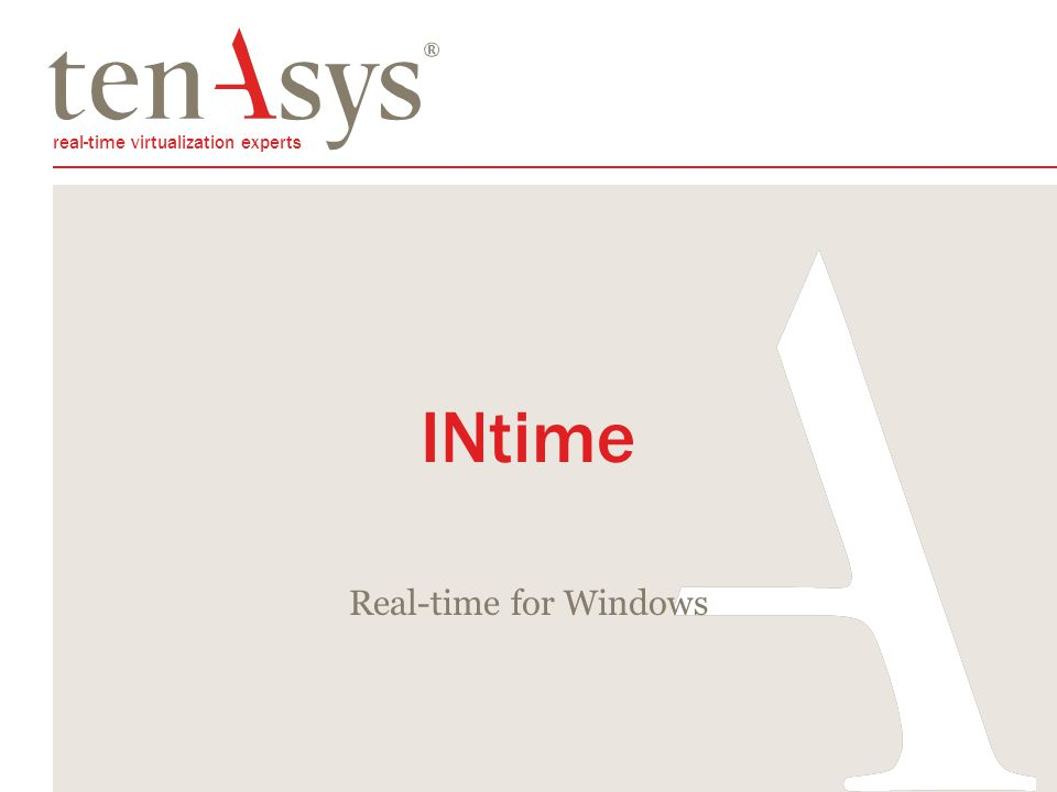 INtime Overview Real-time for Windows