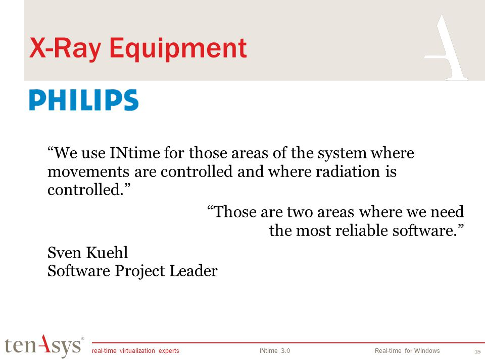 INtime Overview X-Ray Equipment. We use INtime for those areas of the system where movements are controlled and where radiation is controlled.