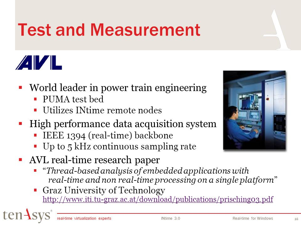 Test and Measurement World leader in power train engineering