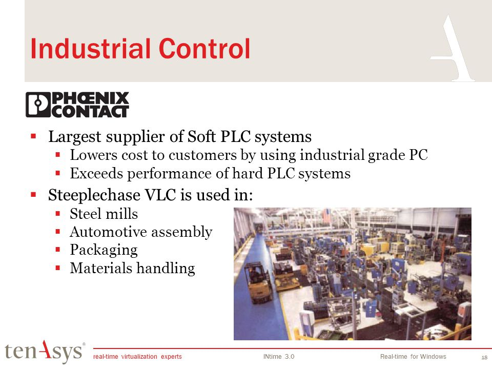 Industrial Control Largest supplier of Soft PLC systems