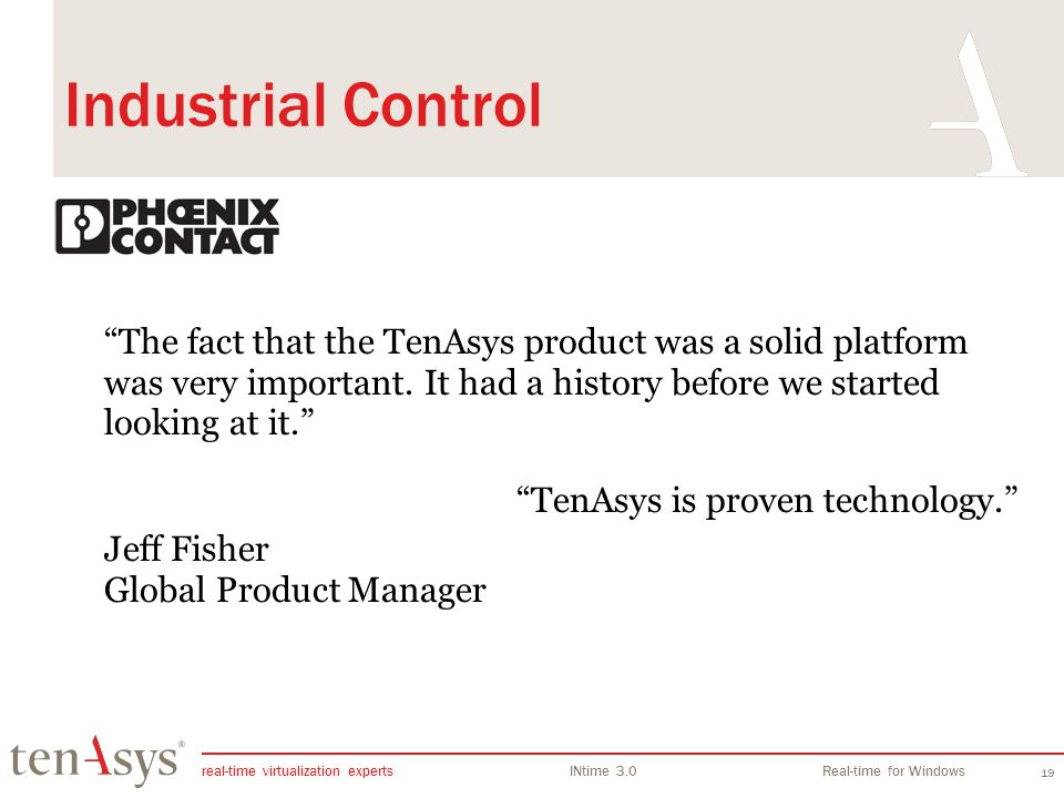 INtime Overview Industrial Control.