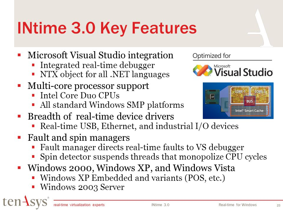 INtime 3.0 Key Features Microsoft Visual Studio integration