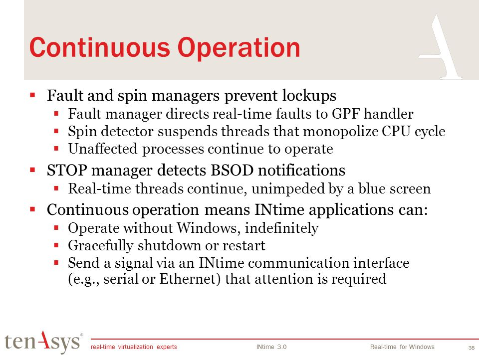 Continuous Operation Fault and spin managers prevent lockups
