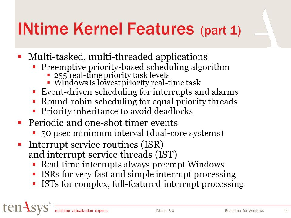 INtime Kernel Features (part 1)