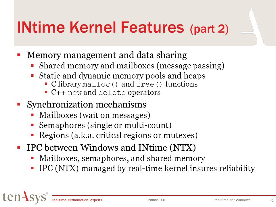 INtime Kernel Features (part 2)