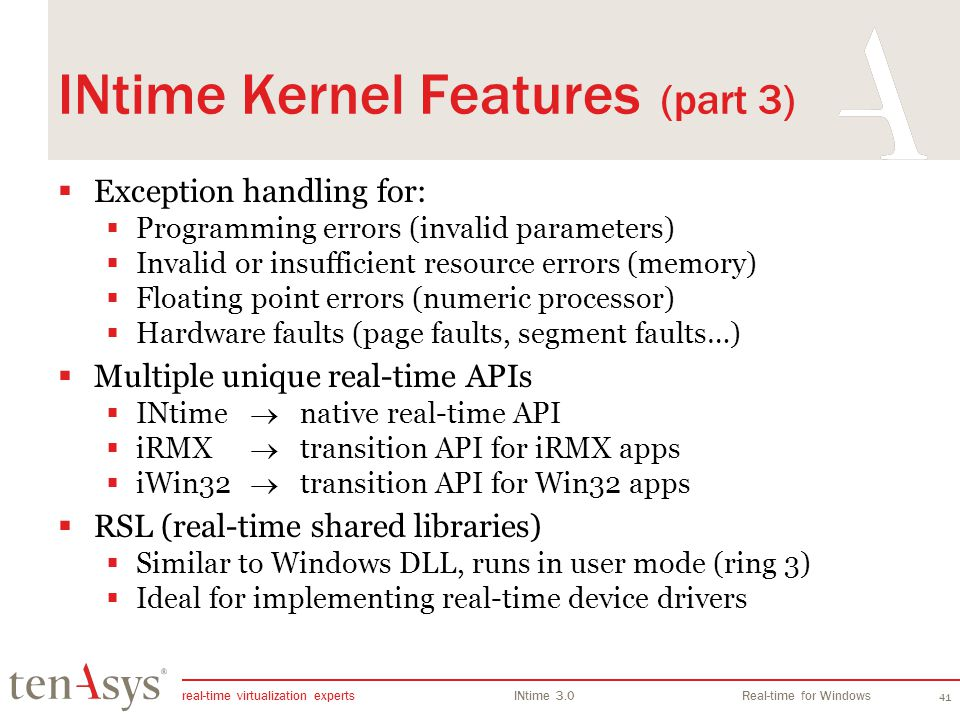 INtime Kernel Features (part 3)