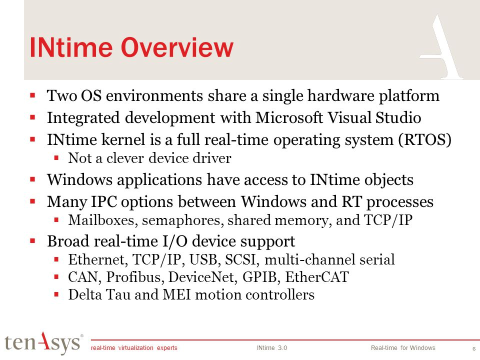 INtime Overview Two OS environments share a single hardware platform
