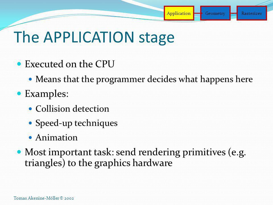 The APPLICATION stage Executed on the CPU Examples: