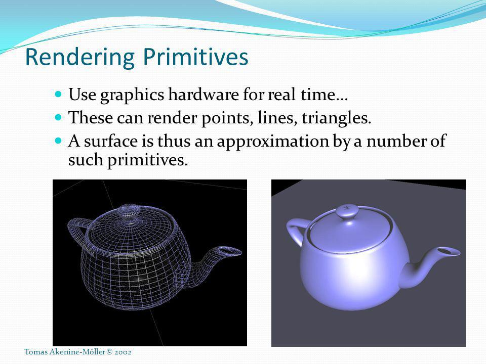 Rendering Primitives Use graphics hardware for real time…