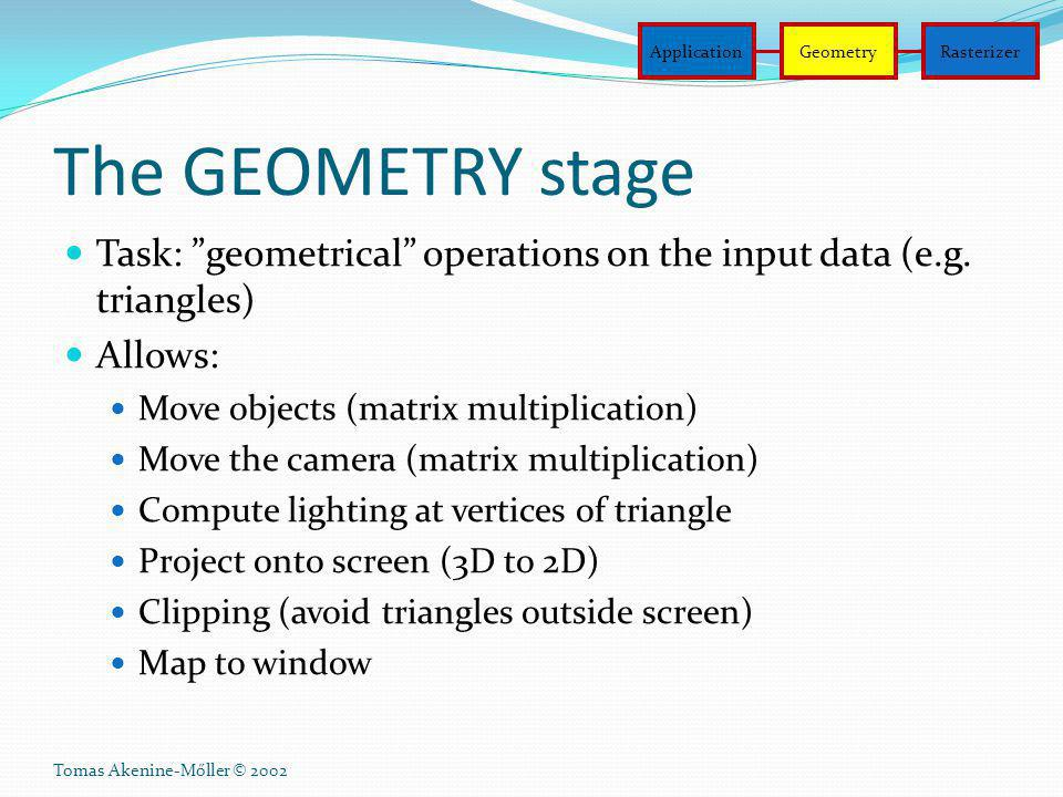 Application Geometry. Rasterizer. The GEOMETRY stage. Task: geometrical operations on the input data (e.g. triangles)