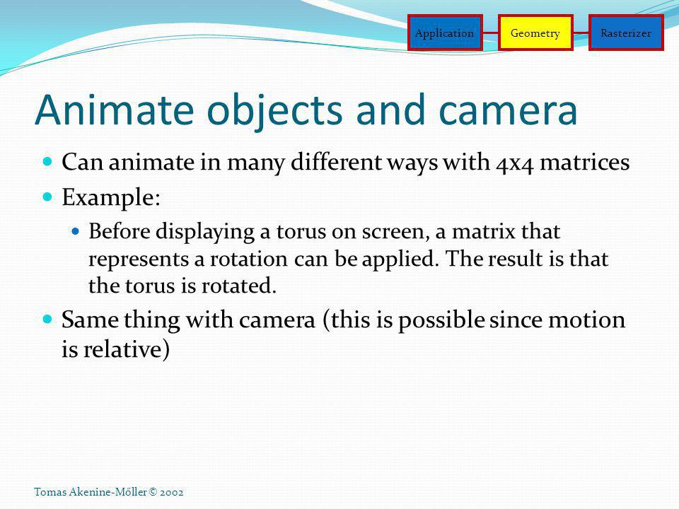 Animate objects and camera
