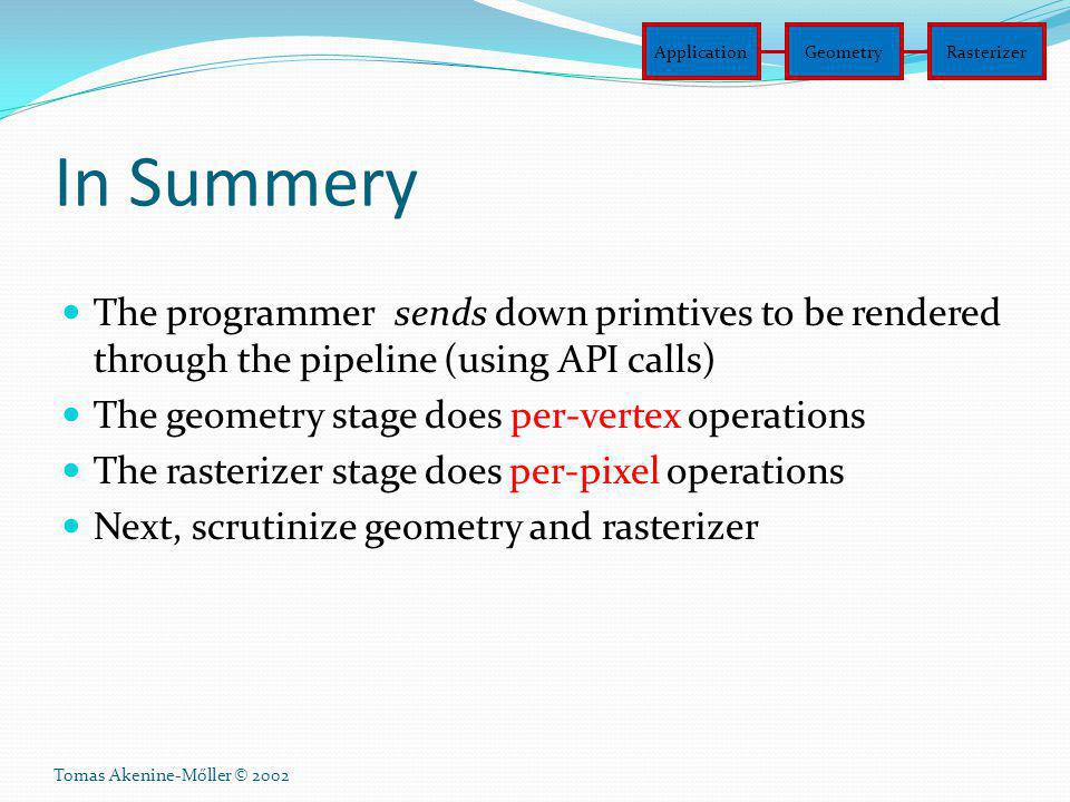 Application Geometry. Rasterizer. In Summery. The programmer sends down primtives to be rendered through the pipeline (using API calls)