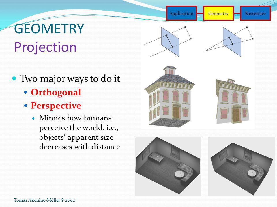 GEOMETRY Projection Two major ways to do it Orthogonal Perspective