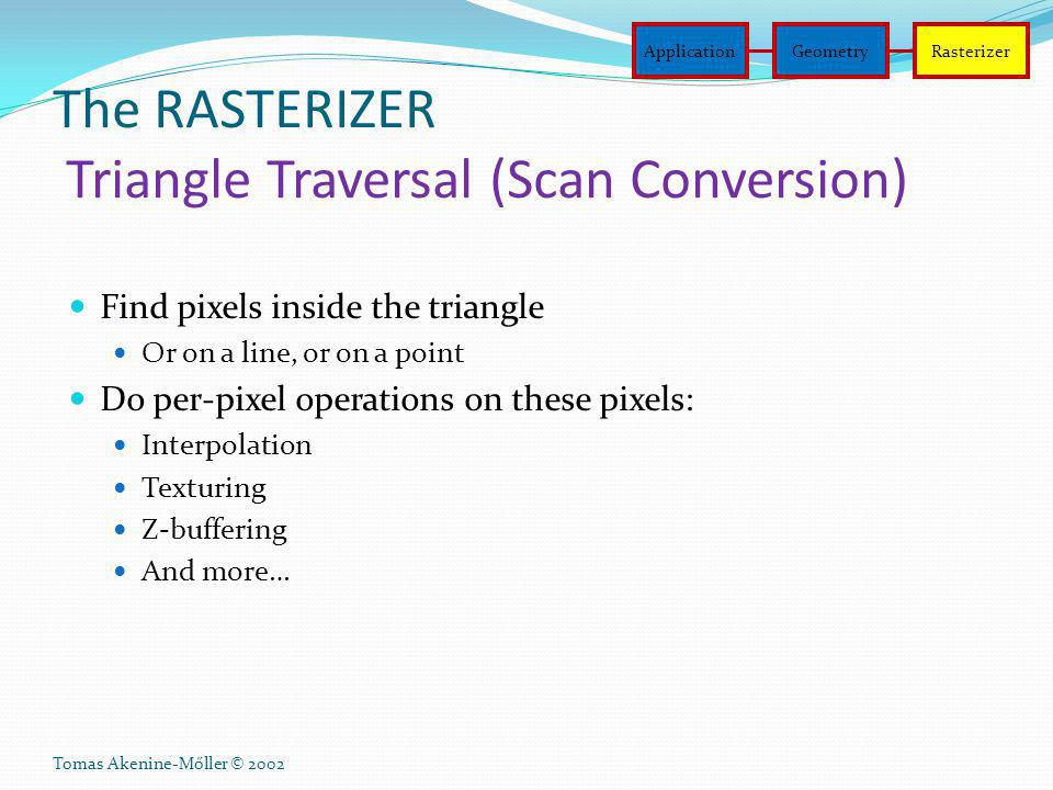 The RASTERIZER Triangle Traversal (Scan Conversion)