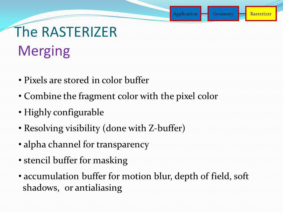 The RASTERIZER Merging