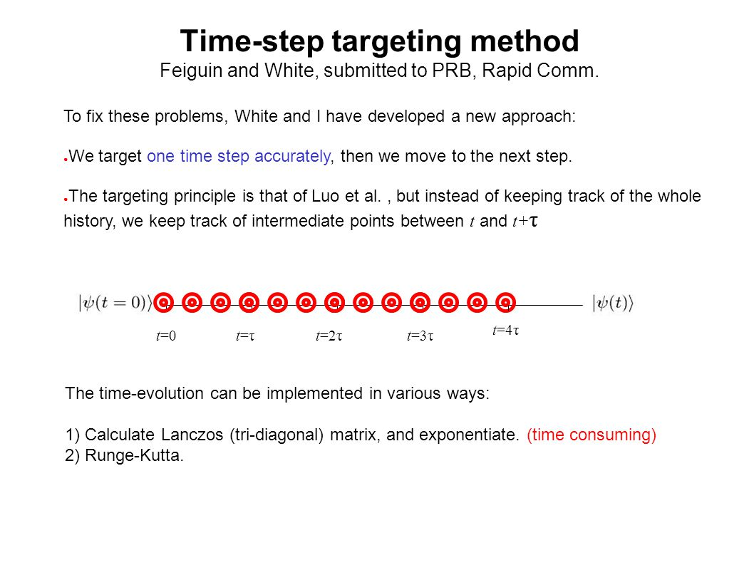 Time-step targeting method Feiguin and White, submitted to PRB, Rapid Comm.