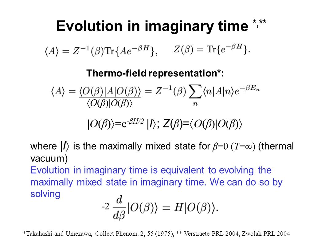 Evolution in imaginary time *,**