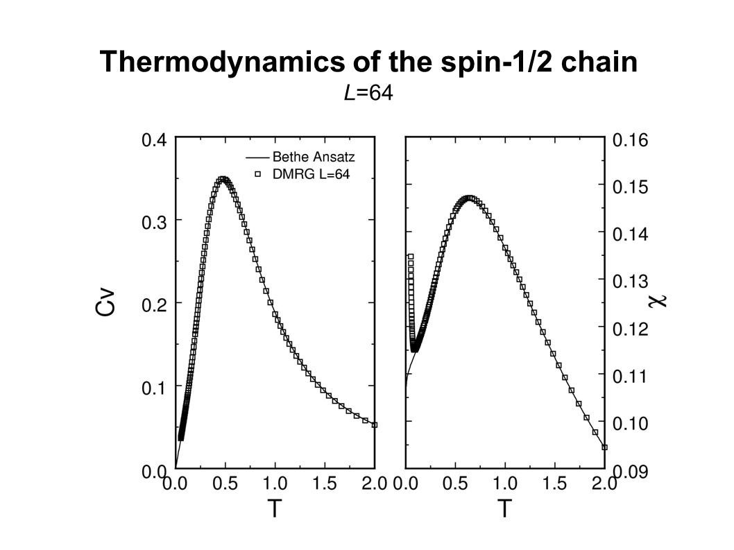 Thermodynamics of the spin-1/2 chain L=64