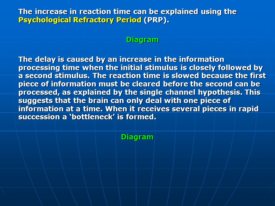 The increase in reaction time can be explained using the Psychological Refractory Period (PRP).