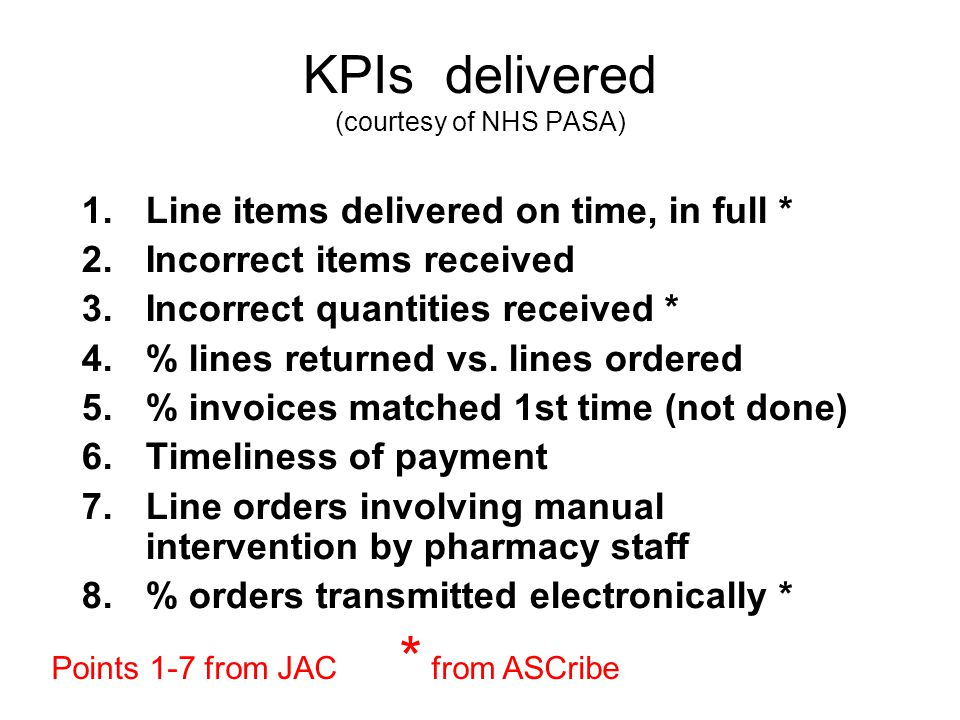 KPIs delivered (courtesy of NHS PASA)