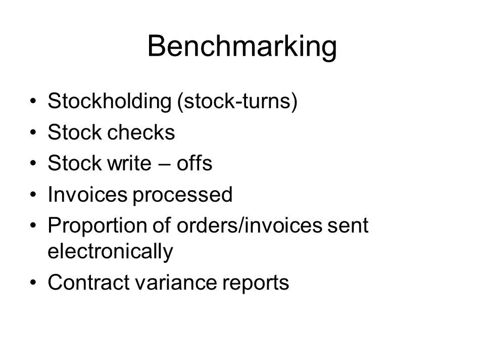 Benchmarking Stockholding (stock-turns) Stock checks