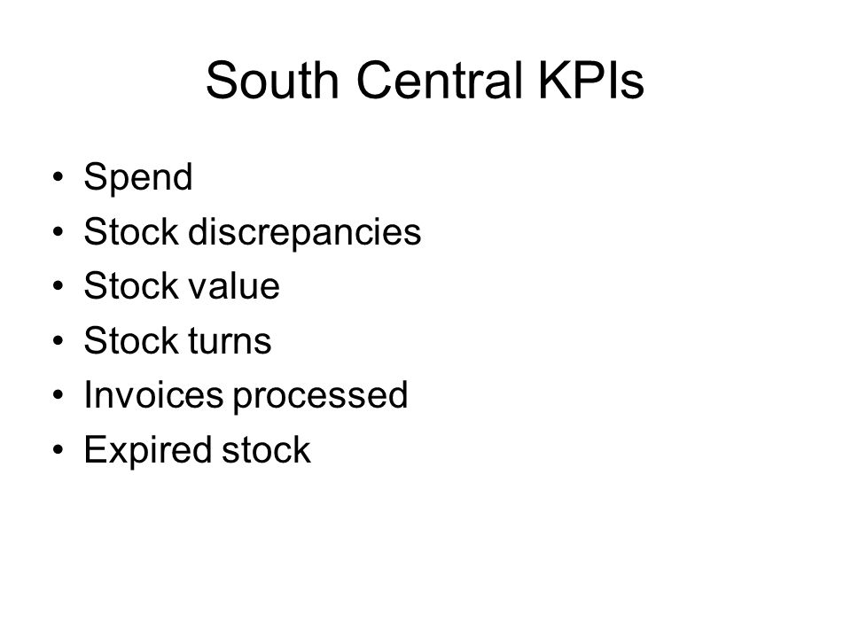 South Central KPIs Spend Stock discrepancies Stock value Stock turns