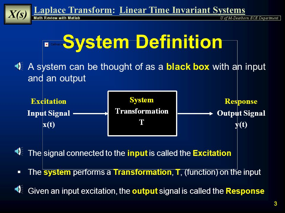 System Definition A system can be thought of as a black box with an input and an output. Output Signal.
