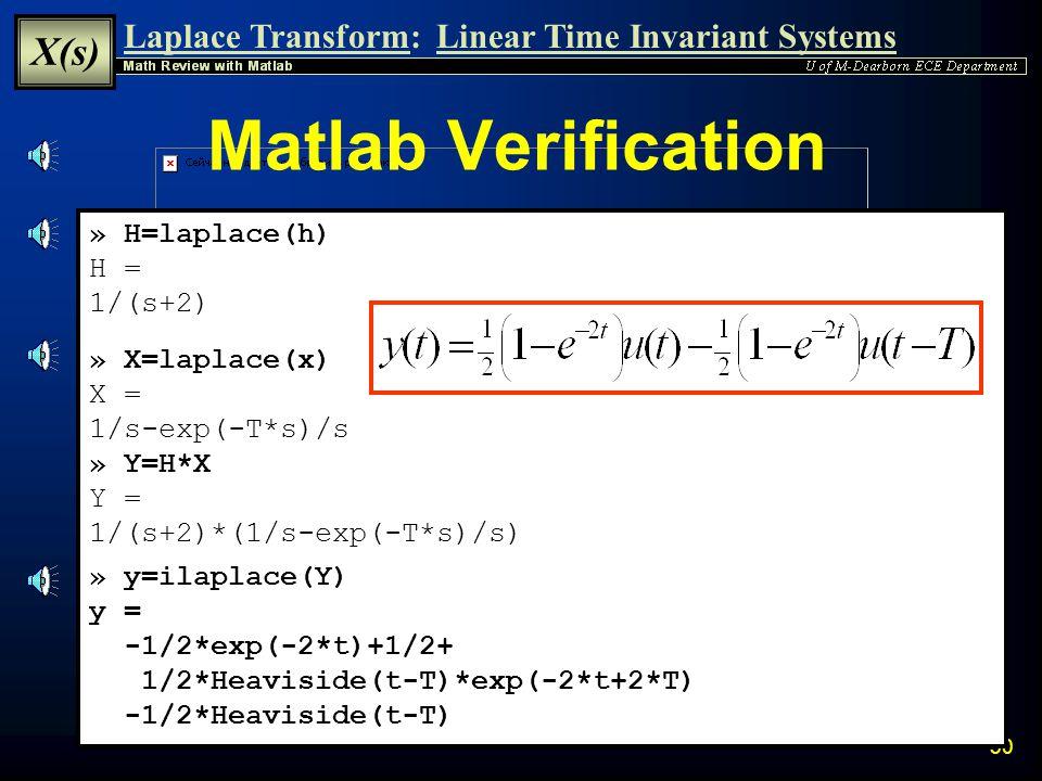 Matlab Verification » H=laplace(h) H = 1/(s+2) » X=laplace(x) X =