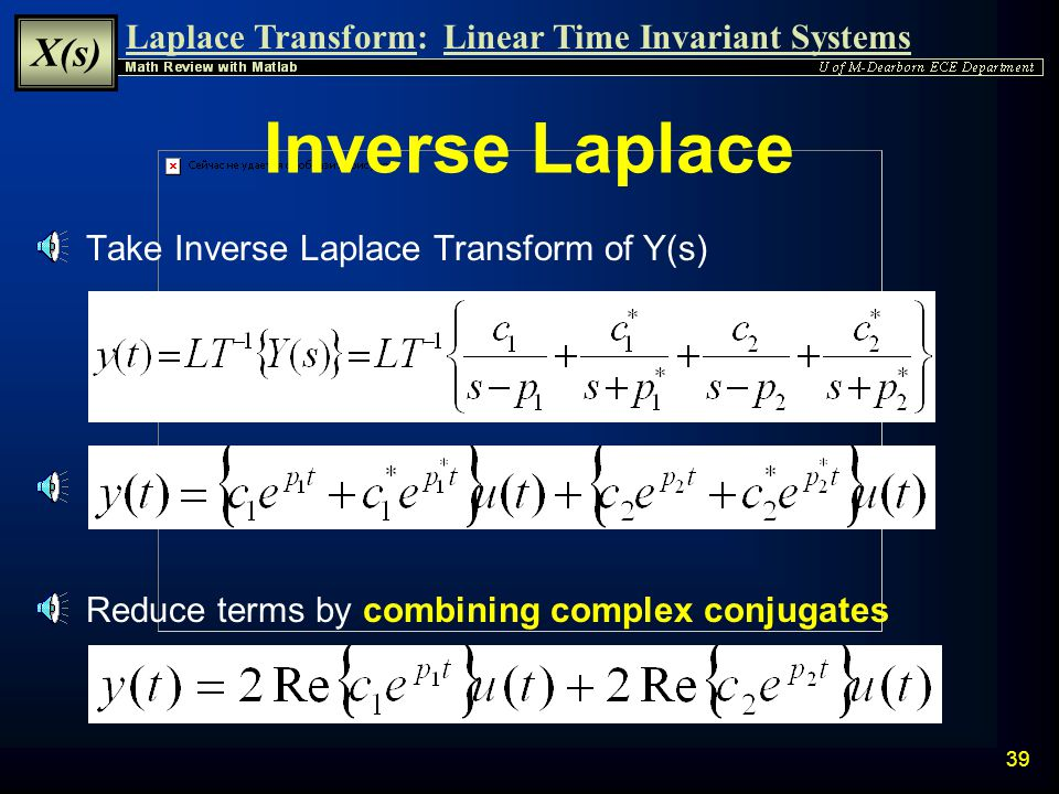 Inverse Laplace Take Inverse Laplace Transform of Y(s)