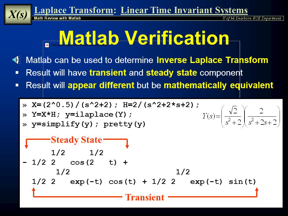 Matlab Verification Steady State Transient