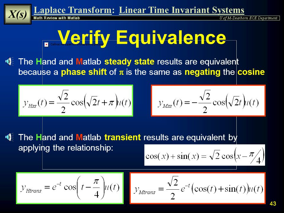 Verify Equivalence The Hand and Matlab steady state results are equivalent because a phase shift of p is the same as negating the cosine.