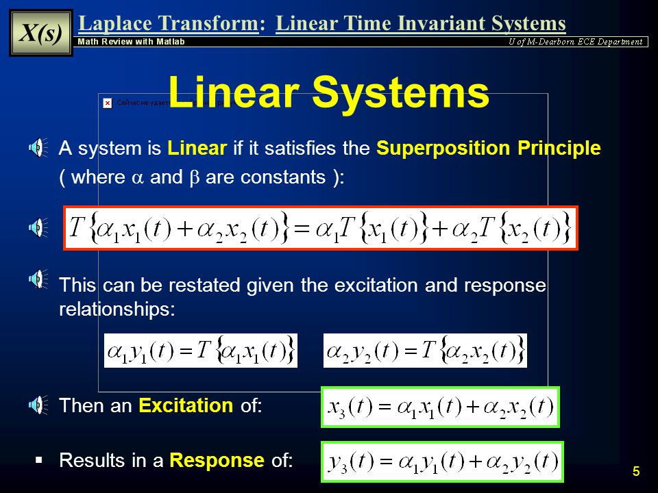Linear Systems A system is Linear if it satisfies the Superposition Principle. ( where a and b are constants ):