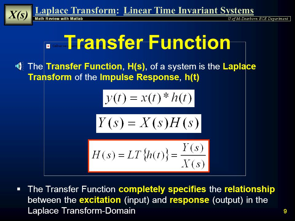 Transfer Function The Transfer Function, H(s), of a system is the Laplace Transform of the Impulse Response, h(t)