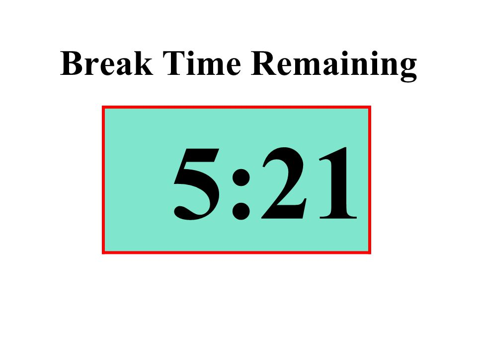 Break Time Remaining 5:21