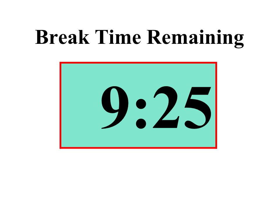 Break Time Remaining 9:25